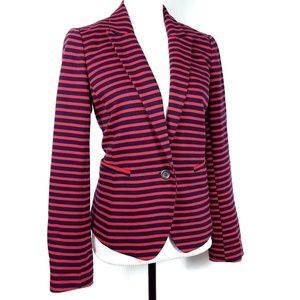 Ann Taylor LOFT Red & Navy Striped Knit Blazer